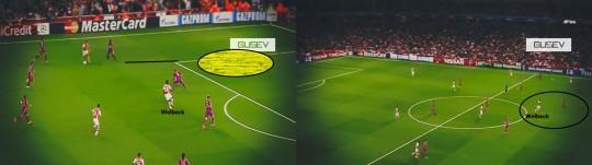 Proses gol pertama Arsenal yang dicetak Danny Welbeck.