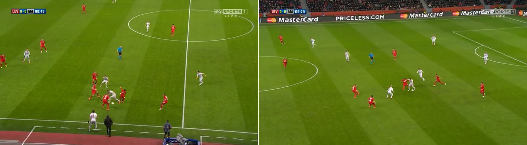 Cara Leverkusen menekan Atletico. Lihat bagaimana tiga hingga empat pemain menekan sekaligus yang membuat tertutupnya ruang untuk umpan.