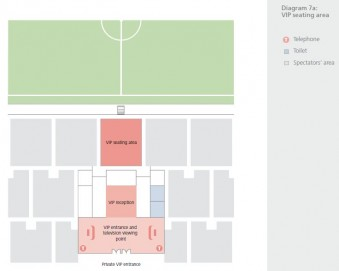 Diagram area VIP dan VVIP (sumber: Football stadiums - technical recommendations and requiements)