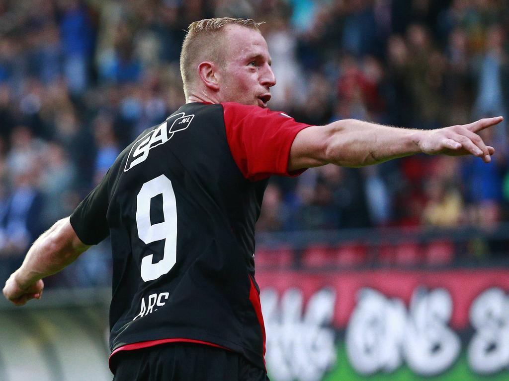 Perayaan Sjoerd Ars, pencetak gol terbanyak Jupiler League (via: voetbal.com)