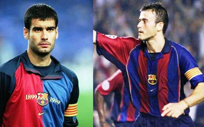 Mantan kapten Blaugrana. Josep Guardiola & Luis Enrique.