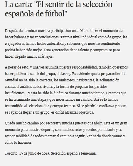 Pernyataan sikap para pemain timnas perempuan Spanyol. Terjemahan naskah ini bisa dibaca di bagian akhir tulisa.n