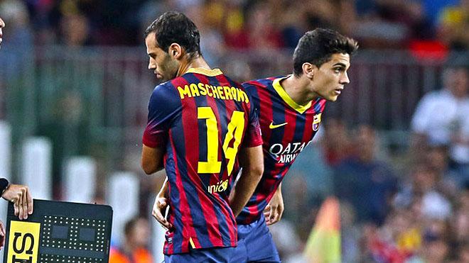 Saat pemain muda La Masia (Bartra) mendapatkan jatah bermain menggantikan pemain bintang (Mascherano) (Sumber: barcachief.files.wordpress.com)