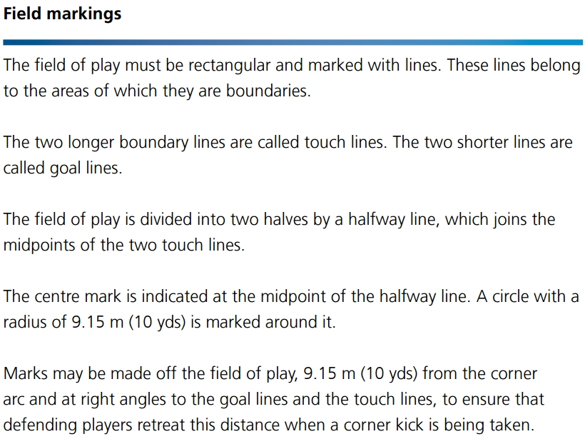 Laws of the game - Field markings