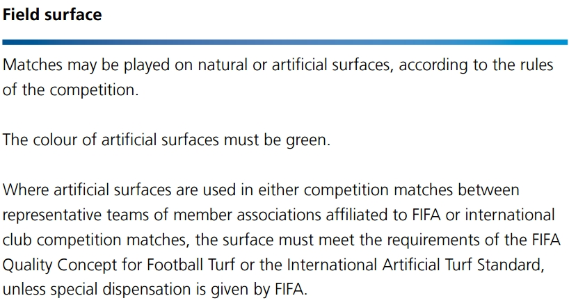 Laws of the game - Field surface