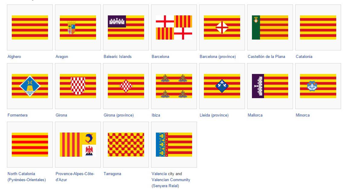 Varian bendera resmi La Senyera di berbagai region otonomi Spanyol. (sumber: wikipedia)