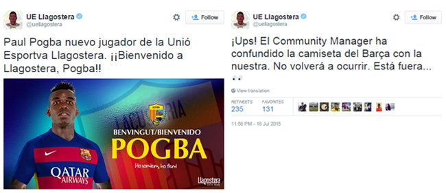 Twit sindiran a la Llagostera (sumber: @uellagostera)