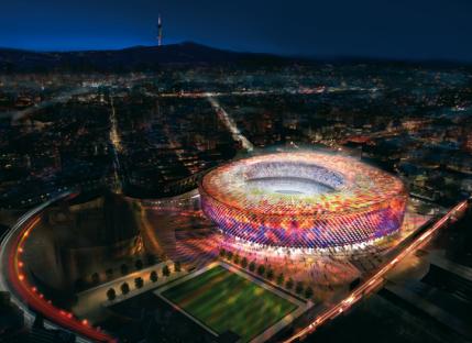 Rencana Stadion Camp Nou yang baru (sumber: Dezeen)
