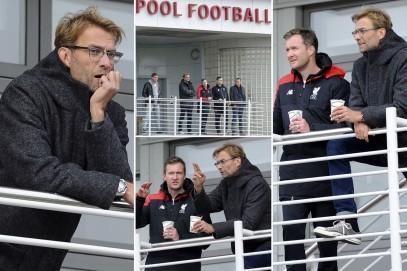 Klopp saat menghadiri latihan Liverpool U18 di Liverpool FC Academy (Via: mirror.co.uk)