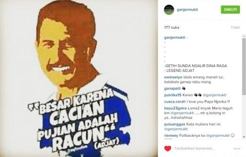 Posting instagram Ganjar Mukti terkait darah Sunda dan legenda Persib Bandung, Ajat Sudrajat.
