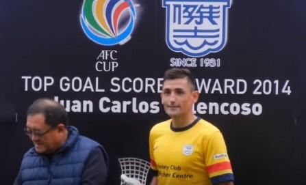 Belencoso ketika meraih penghargaan pencetak gol terbanyak AFC Cup tahun 2014